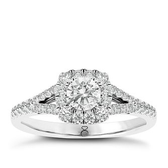 The Diamond Story 18ct White Gold 1/2ct Diamond Halo Ring - Product number 3828565