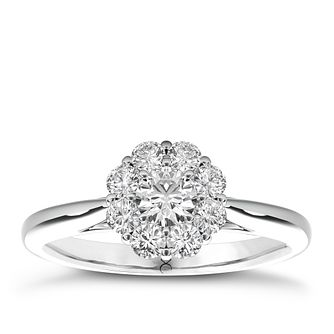 The Diamond Story 18ct White Gold 1/2ct Diamond Flower Ring - Product number 3828832