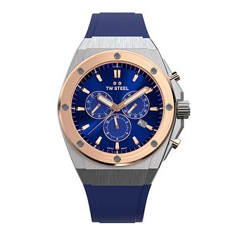 TW Steel CEO Tech Men's Two Tone Blue Silicone Strap Watch - Product number 3830209