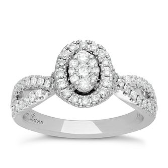 Neil Lane 14ct White Gold 0.62ct Total Diamond Halo Ring - Product number 3830497