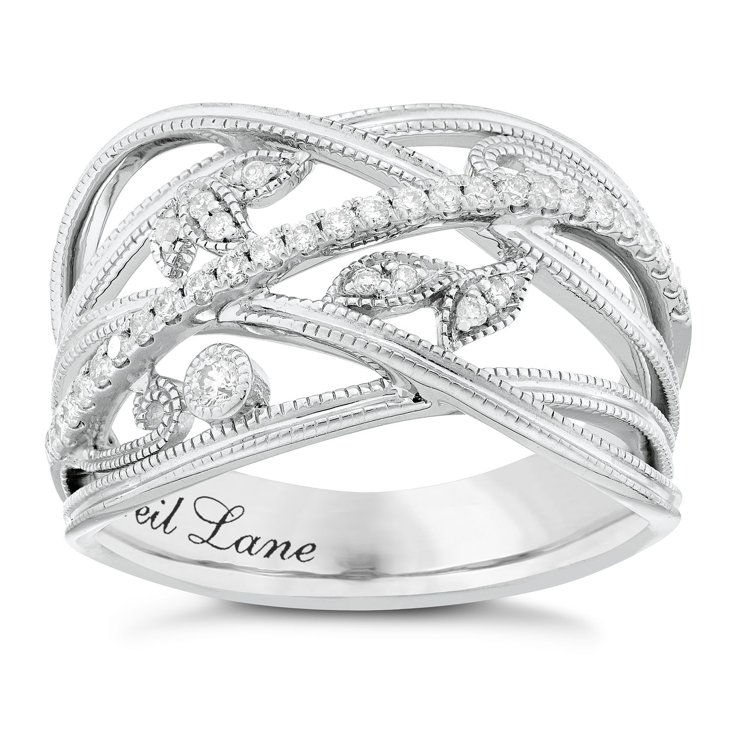 Neil Lane Designs Silver 1/5ct Diamond Leaf Band Ring - Product number 3832945