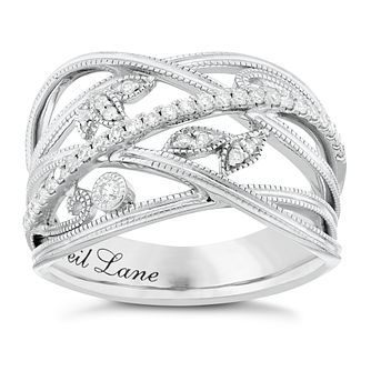 Neil Lane Designs Silver 0.20ct Diamond Leaf Band Ring - Product number 3832945