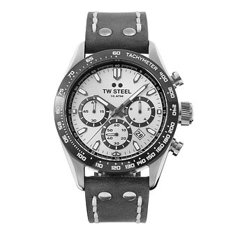 TW Steel Chrono Sport Men's Grey Leather Strap Watch - Product number 3833100