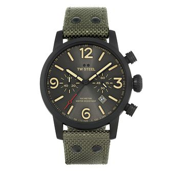 TW Steel Maverick Men's Army Green Textile Strap Watch - Product number 3834891