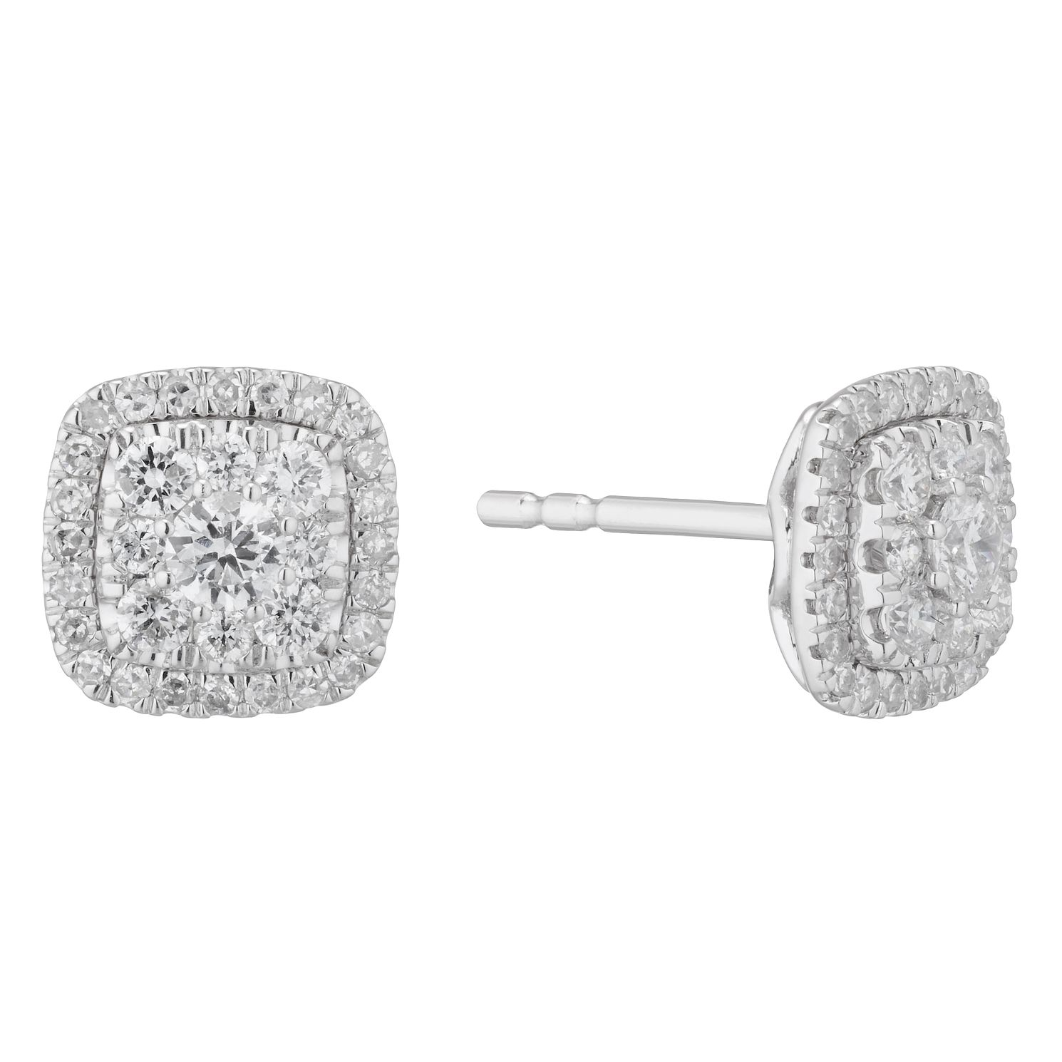 9ct White Gold 1/2ct Diamond Cushion Cluster Stud Earrings - Product number 3836649