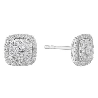9ct White Gold 0.50ct Total Diamond Cushion Cluster Earrings - Product number 3836649