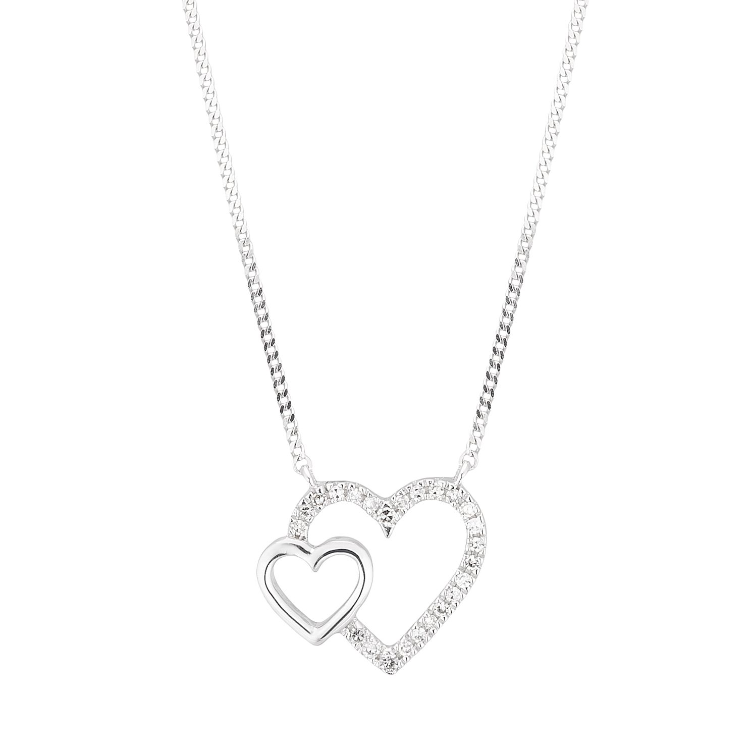 9ct White Gold Diamond Double Heart Necklace - Product number 3836681