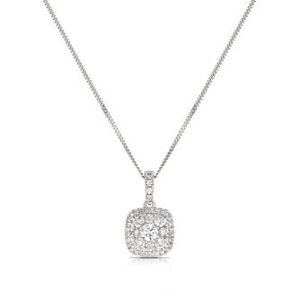 9ct White Gold 0.50ct Total Diamond Cushion Cluster Pendant - Product number 3836711