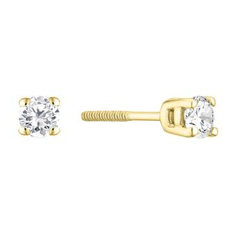 9ct Yellow Gold 1/4ct Diamond Solitaire Stud Earrings - Product number 3836827
