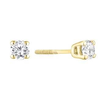 9ct Yellow Gold 1/3ct Diamond Solitaire Stud Earrings - Product number 3836835