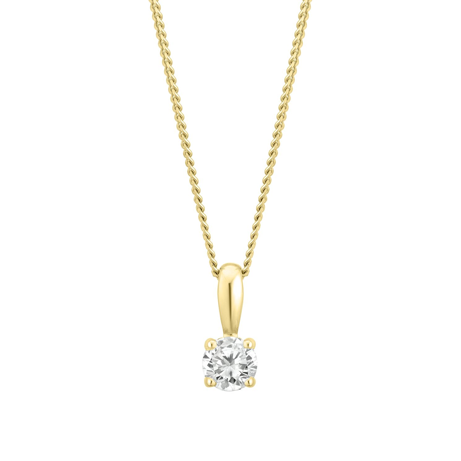 9ct Yellow Gold 1/5ct Diamond Solitaire Pendant - Product number 3837165