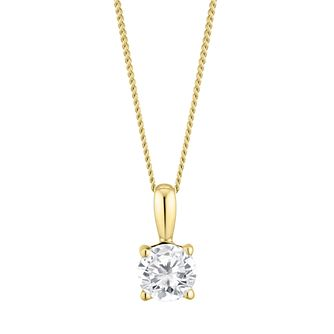 9ct Yellow Gold 1/2ct Diamond Solitaire Pendant - Product number 3837173