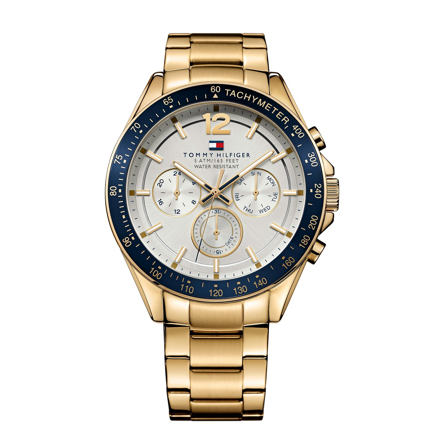 Tommy Hilfiger Men's White Dial Gold-Plated Bracelet Watch - Product number 3837408