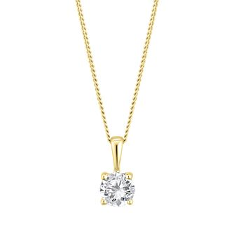 9ct Yellow Gold 1/3ct Diamond Solitaire Pendant - Product number 3838048