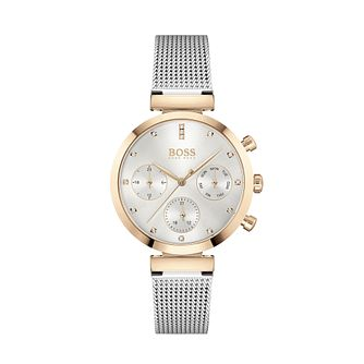 BOSS Flawless Crystal Two Tone Mesh Bracelet Watch - Product number 3841332