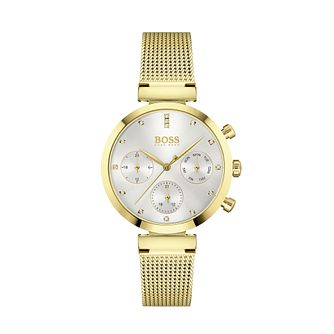 BOSS Flawless Crystal Yellow Gold Tone Mesh Bracelet Watch - Product number 3841340