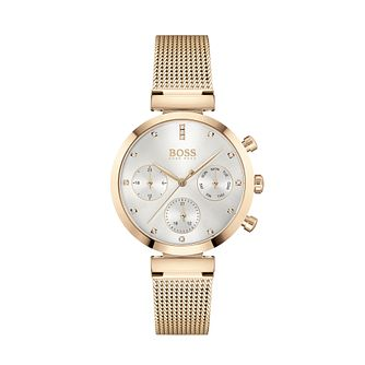 BOSS Flawless Crystal Rose Gold Tone Mesh Bracelet Watch - Product number 3841359