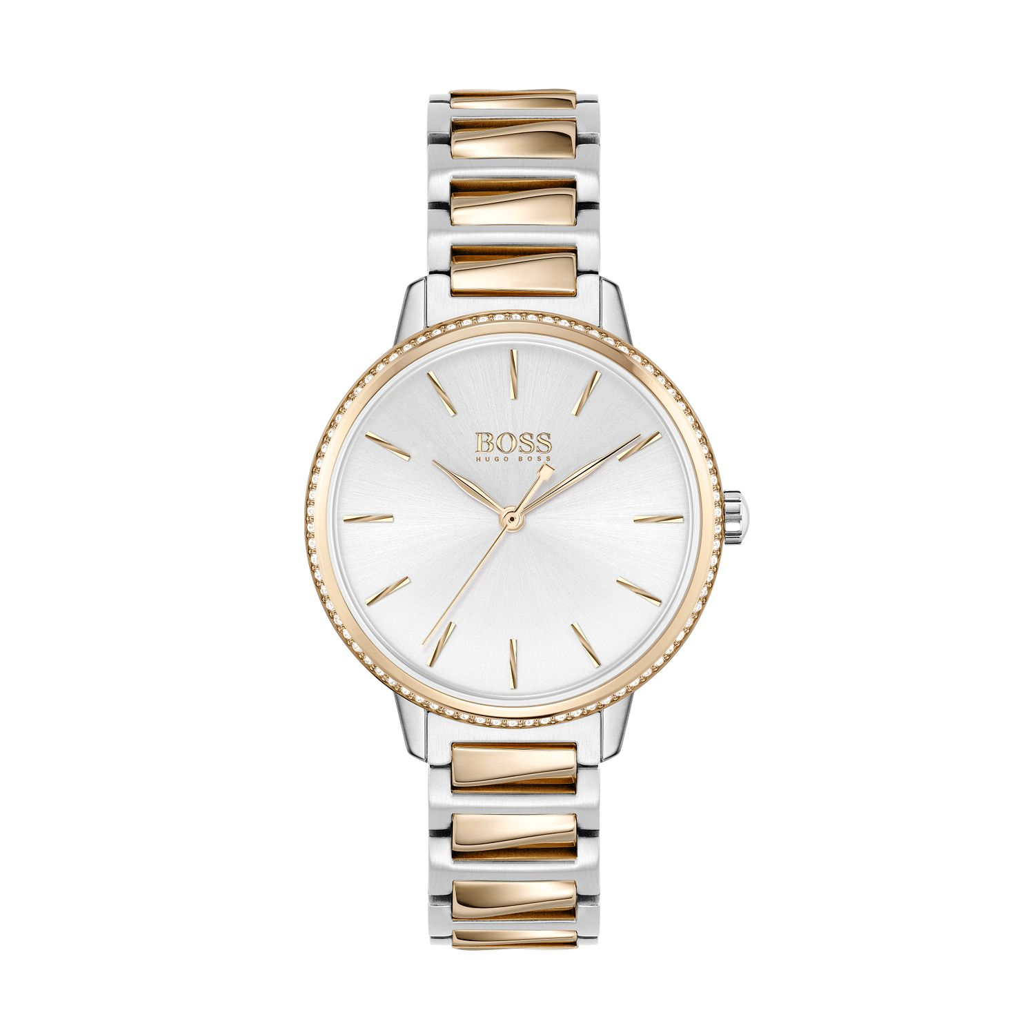 BOSS Signature Crystal Ladies' Two Tone Bracelet Watch - Product number 3847608