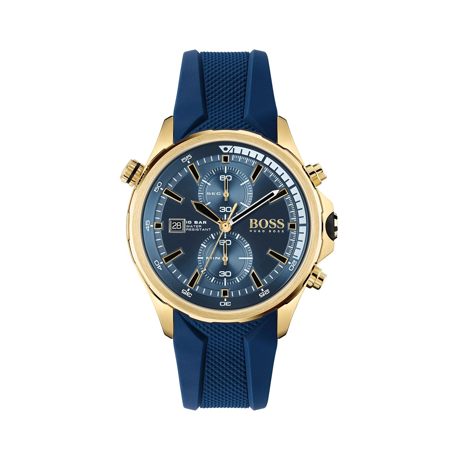 BOSS Globetrotter Men's Blue Silicone Strap Watch - Product number 3849430