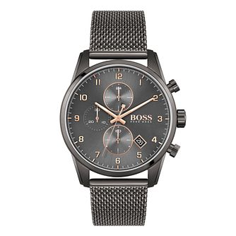 BOSS Skymaster Men's Grey IP Mesh Bracelet Watch - Product number 3849597