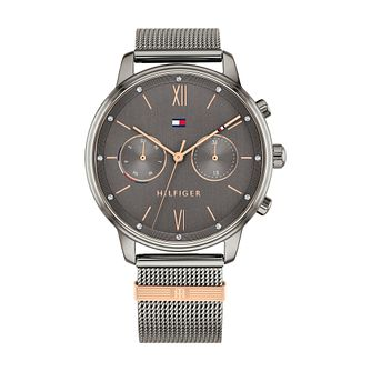 Tommy Hilfiger Blake Ladies' Grey IP Mesh Bracelet Watch - Product number 3852539