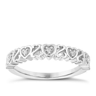 Open Hearts By Jane Seymour Silver & Diamond Eternity Ring - Product number 3853896