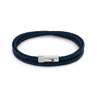 Tommy Hilfiger Men's Double Row Blue Leather Bracelet - Product number 3855481