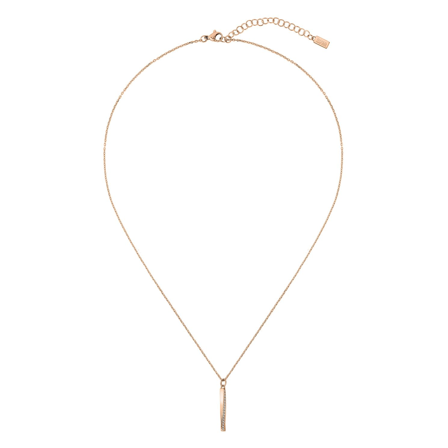 BOSS Signature Crystal Ladies' Rose Gold Tone Pendant - Product number 3856259