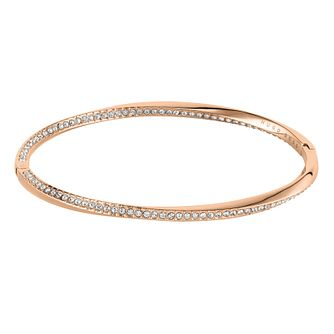 BOSS Signature Crystal Ladies' Rose Gold Tone Bangle - Product number 3856291