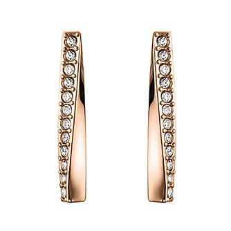 BOSS Rose Gold Tone Swarovski Crystal Bar Stud Earrings - Product number 3856305