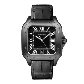 Cartier Santos de Cartier Men's Leather & Rubber Strap Watch - Product number 3864405
