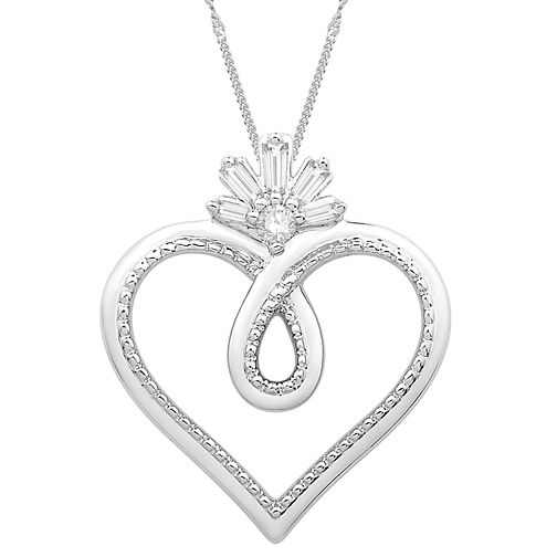 Emmy London Sterling Silver Diamond Heart Pendant - Product number 3864499