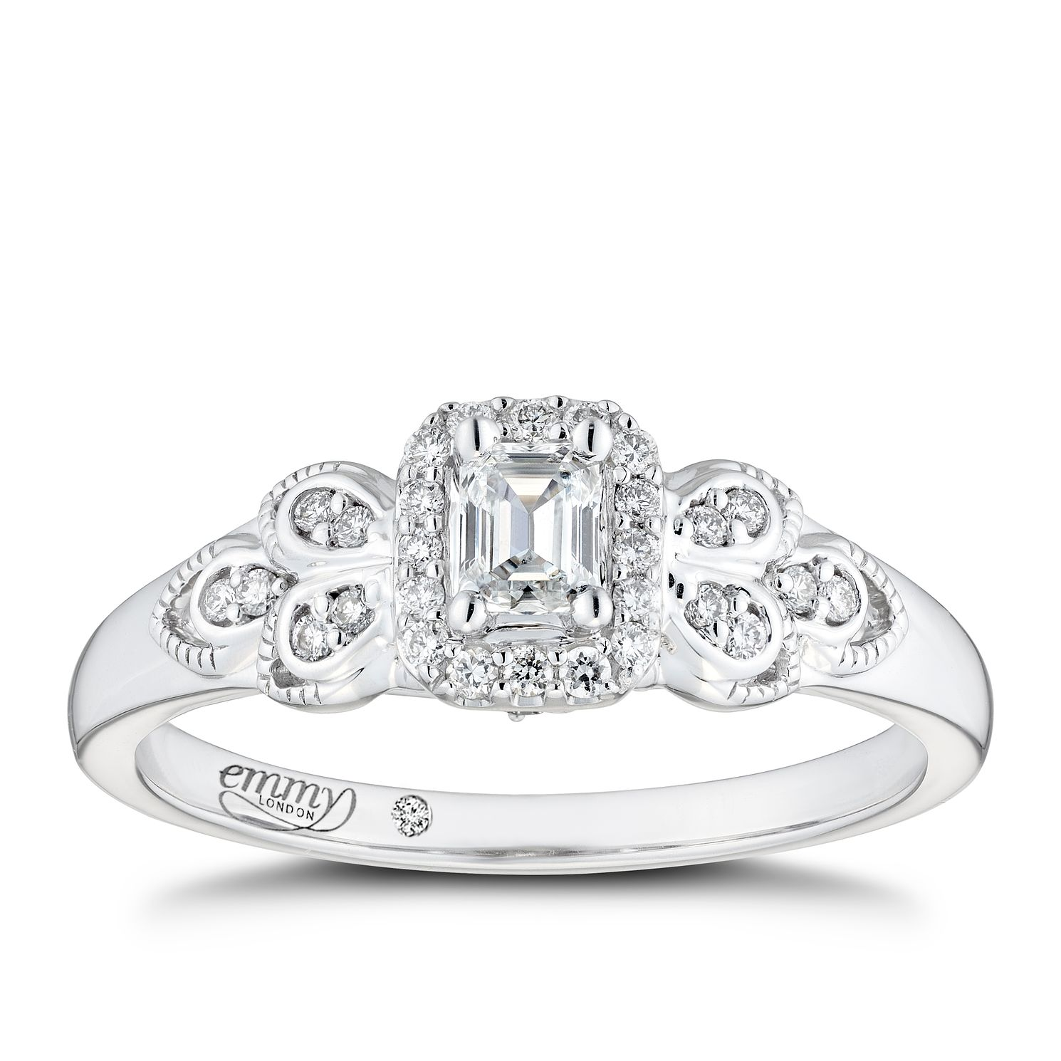 Emmy London 18ct White Gold 1/4ct Diamond Halo Ring - Product number 3864901