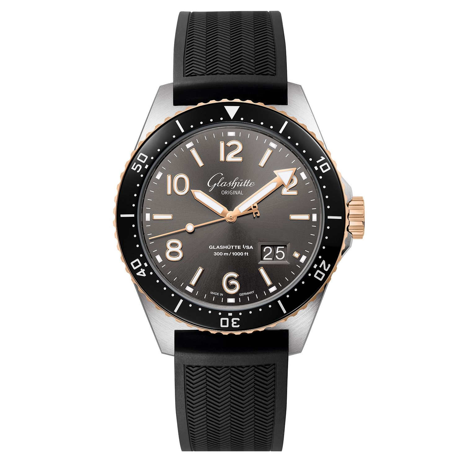 Glashutte SeaQ Panorama Date Men's Black Rubber Strap Watch - Product number 3866130