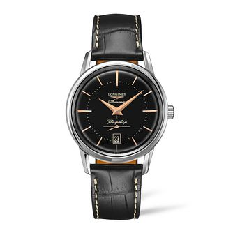 Longines Flagship Heritage Men's Black Leather Strap Watch - Product number 3866149