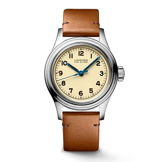 Longines Heritage Military Men's Brown Leather Strap Watch - Product number 3866181