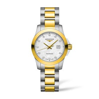 Longines Conquest Ladies' Diamond Yellow Gold Bracelet Watch - Product number 3866742