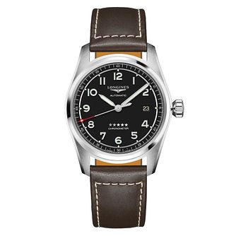 Longines Spirit 40 Men's Brown Leather Strap Watch - Product number 3867536
