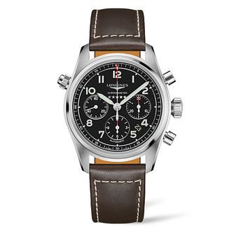Longines Spirit Chrono Men's Brown Leather Strap Watch - Product number 3867803