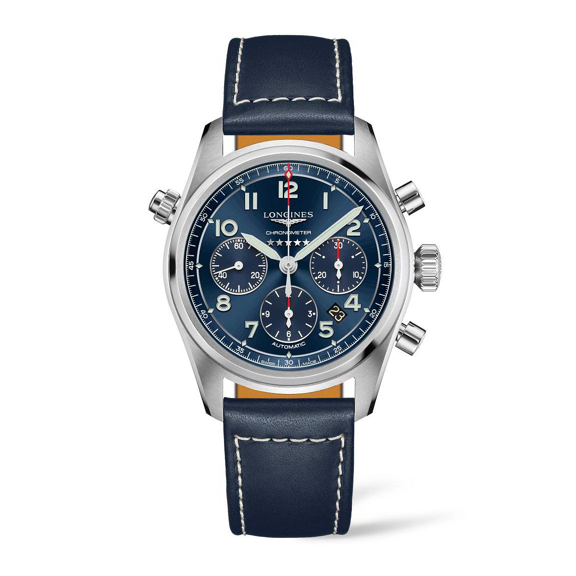 Longines Spirit Chrono Men's Blue Leather Strap Watch - Product number 3868265