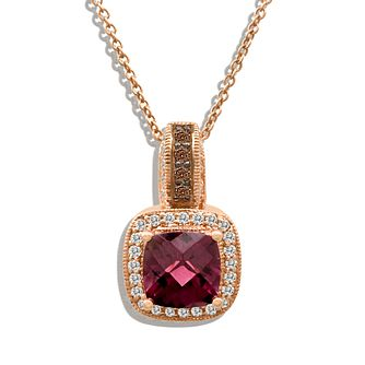 Le Vian 14ct Strawberry Gold Diamond & Rhodolite Pendant - Product number 3871738