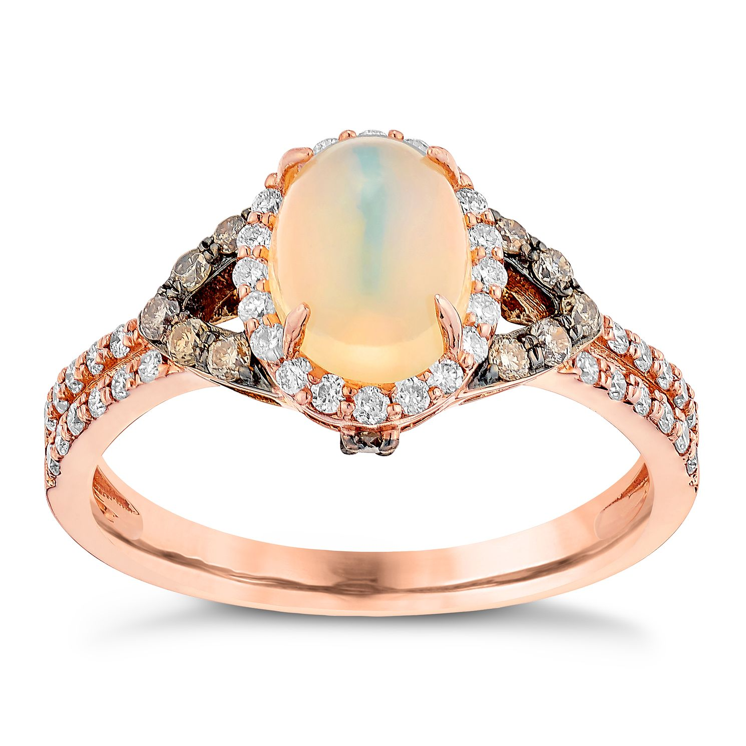 Le Vian 14ct Strawberry Gold 0.43ct Diamond & Opal Ring - Product number 3872270