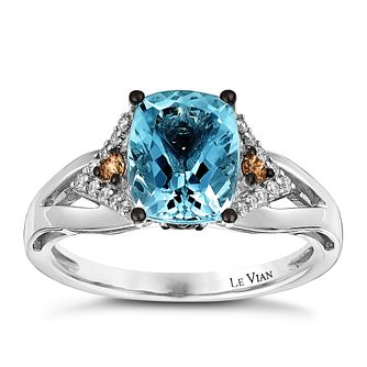 Le Vian 14ct Vanilla Gold 0.22ct Diamond & Aquamarine Ring - Product number 3874230