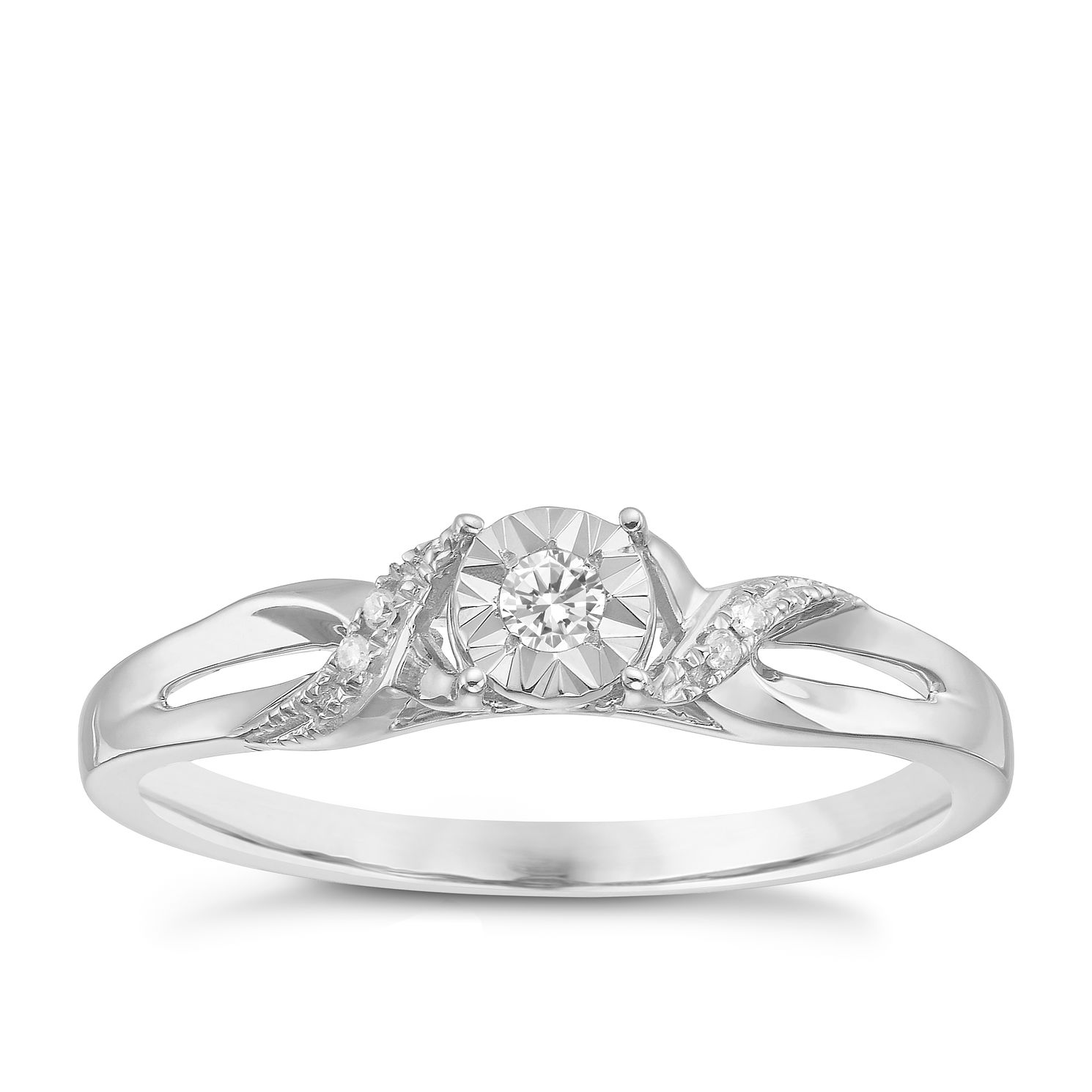 9ct White Gold Diamond Illusion Solitaire Ring - Product number 3875520