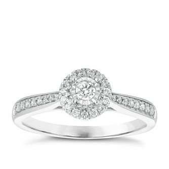 9ct White Gold 0.25ct Total Diamond Solitaire Halo Ring - Product number 3876896
