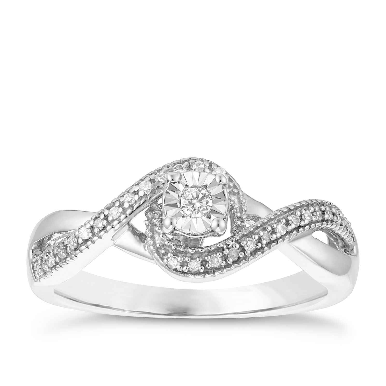 9ct White Gold Diamond Twist Solitaire Ring - Product number 3877256