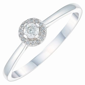 9ct White Gold 0.15ct Diamond Solitaire Halo Ring - Product number 3879348