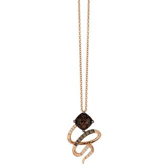 Le Vian 14ct Strawberry Gold Chocolate Quartz & Dia Pendant - Product number 3879674
