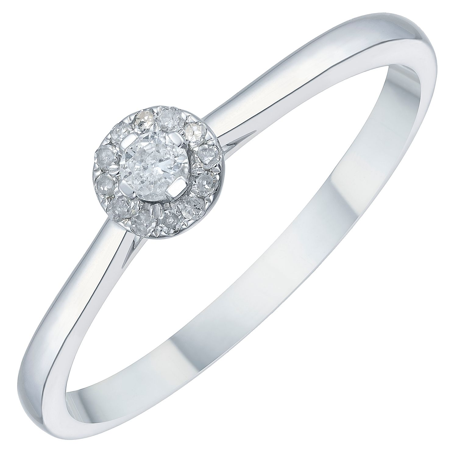 9ct White Gold 1/10ct Diamond Solitaire Halo Ring - Product number 3879895