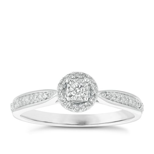 9ct White Gold 0.15ct Diamond Solitaire Halo Ring - Product number 3881598